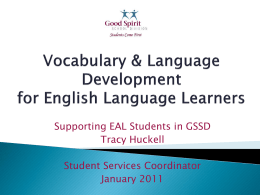 Vocabulary & Language Development for English …