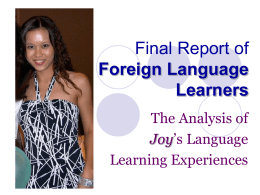 Final Project of Foreign Language Learners