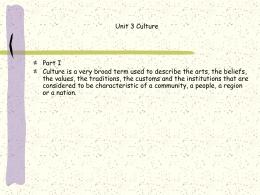 Unit 3 Culture