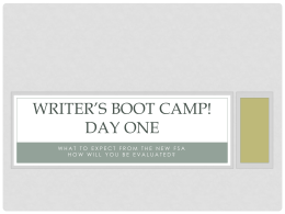Writer's Boot Camp! Day one