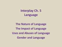 INTERPLAY Ch.5 Language - D RAY Communication Studies