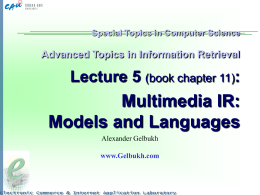 Lecture 5: Multimedia IR: Models and Languages