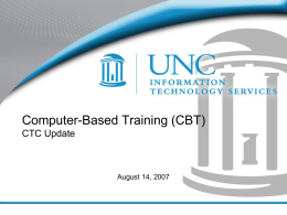 Computer-Based Training Update