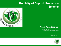 Publicity of Deposit Protection Scheme