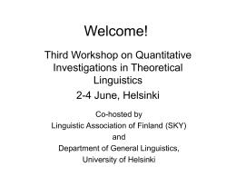 Welcome! [www.ling.helsinki.fi]
