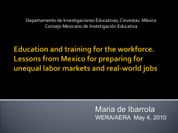 Education and training for the workforce. Lessons from