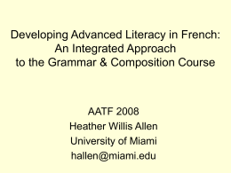 Developing Advanced Literacy in French: An Integrated
