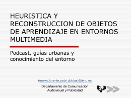 HEURISTICA Y RECONSTRUCCION DE OBJETOS DE …