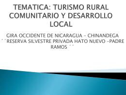 TEMATICA: TURISMO RURAL COMUNITARIO Y …