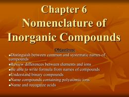 Chapter 6 Nomenclature of Inorganic Compounds