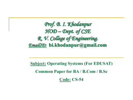 Operating Systems - DCE Karnataka HOME