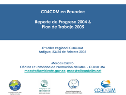 CD4CDM en Ecuador: progreso 2004 y plan 2005