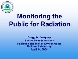 Monitoring the Public for Radiation