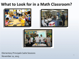 What to Look for in a Math Classroom