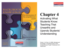 Chapter 4: Activating What Students Know: Teaching …