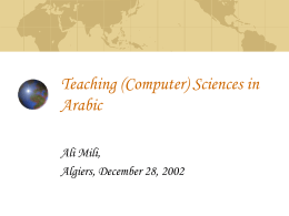 Teaching (Computer) Sciences in Arabic