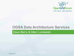 The OGSA Data Architecture
