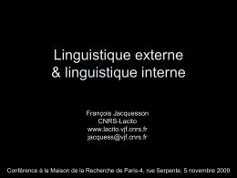Linguistique externe & linguistique interne - Lacito