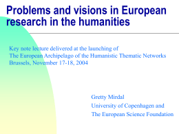 Problems and visions in European research in the …