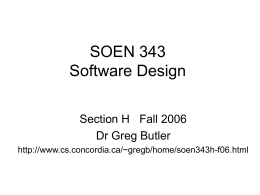 COMP 6471 Software Design Methodologies