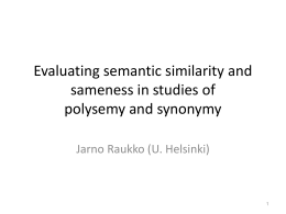 Evaluating semantic similarity and sameness in studies of …