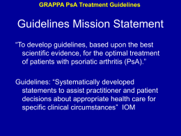 GRAPPA PsA Treatment Guidelines Establish Diagnosis …