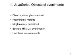 Javascript. Obiecte si evenimente