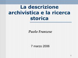 Lo storico e la ricerca delle fonti