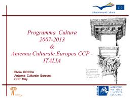 Programma Cultura 2007-2013: obiettivi e settori