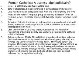 Roman Catholics: A useless label politically?