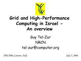 Grid and High-Performance Computing in Israel