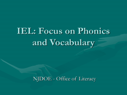 IEL: Focus on Phonics and Vocabulary