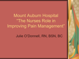 "Mount Auburn Hospital ""The Nurses Role in Improving …"