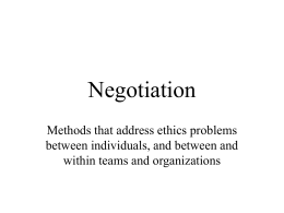 Negotiation  - Analytic Technologies
