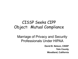 CISSP Seeks CIPP Object Mutual Compliance