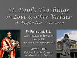 St. Paul's Teachings on Love and Other Virtues: A