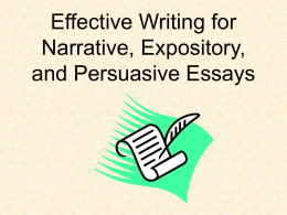Effective Writing for Narrative, Expository, and