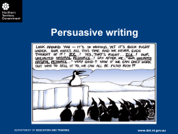 Persuasive writing - Department Of Education NT