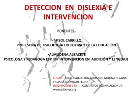 DETECION EN DISLEXIA E INTERVENCION.
