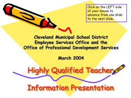 Highly Qualified Teacher - Cleveland Metropolitan School
