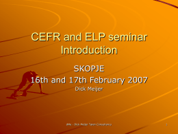 CEFR and ELP seminar - European Centre for Modern …