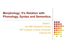Morphology - Language Technologies Research Centre, IIIT