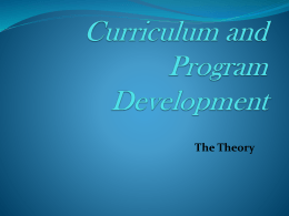Curriculum and Program Development