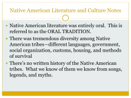 Native American Literature and Culture Notes