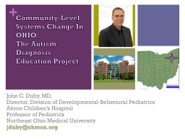 Community-Level Systems Change In OHIO: The Autism