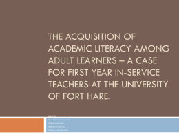 The acquisition of academic literacy among adult learners