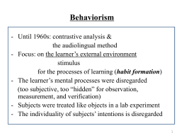 Behaviorism and Second Language Learning