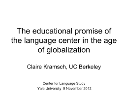 The cultural dimension of language studies
