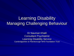 Learning Disability Managing Challenging Behaviour