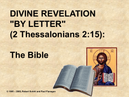 "Divine Revelation ""By Letter"" - Catholic Biblical Apologetics"